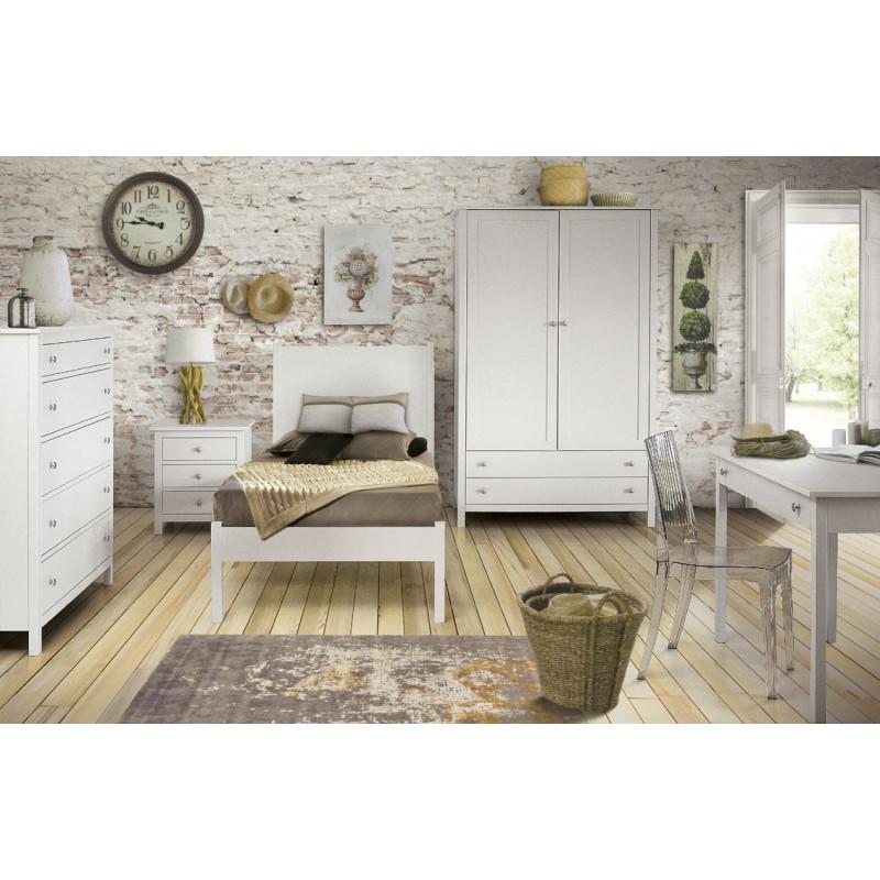 Letto bianco in legno di pioppo - Stile Classico