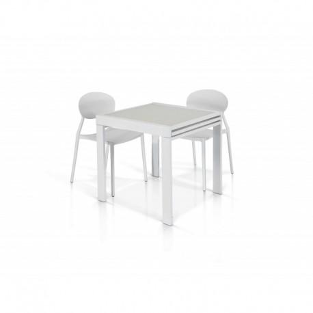 Tavolo vetro bianco – 70x70 allungabile