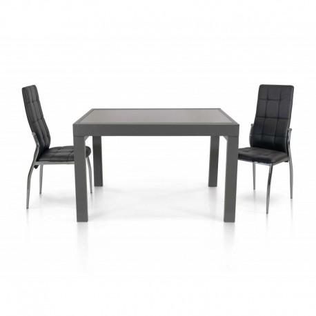 Tavolo vetro grigio – 70x70 allungabile