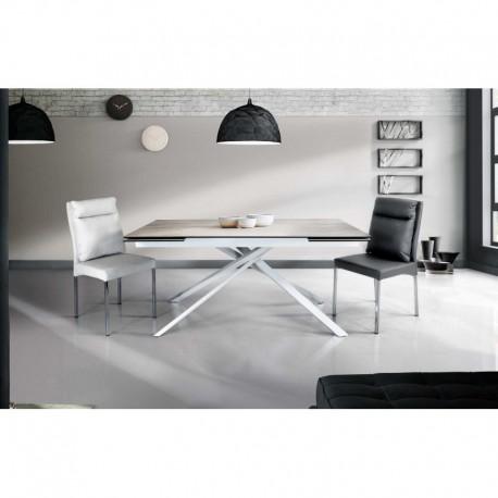 Tavolo ceramica finitura marmo bianco – 160x90 2 all. cm.40