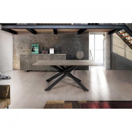 Tavolo rovere nodato finitura beton – 250x100 sp.4 fisso