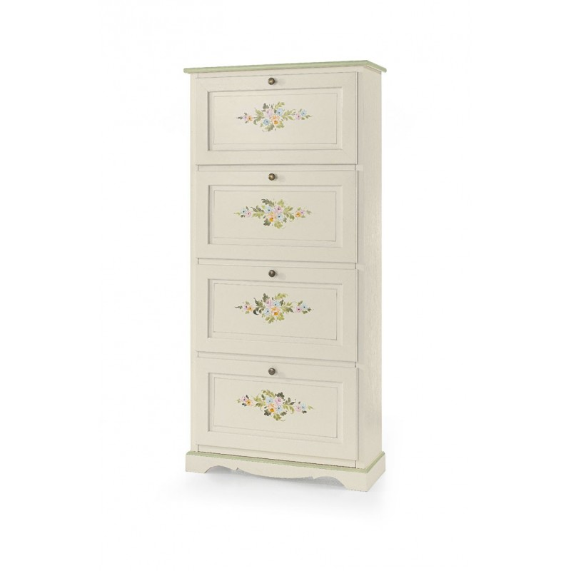 Scarpiera bianca decorata in stile floreale Shabby Chic