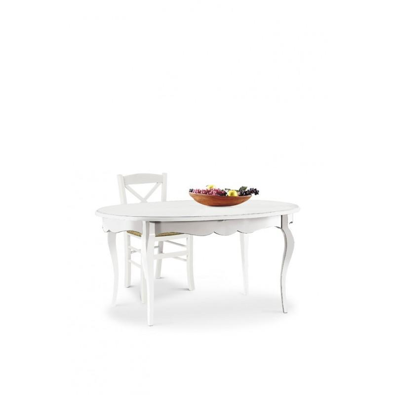 Tavolo ovale bianco opaco